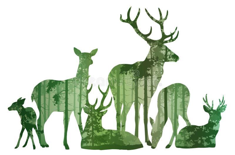 鹿剪影牧群  向量例证