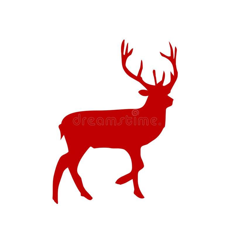 鹿剪影 库存例证