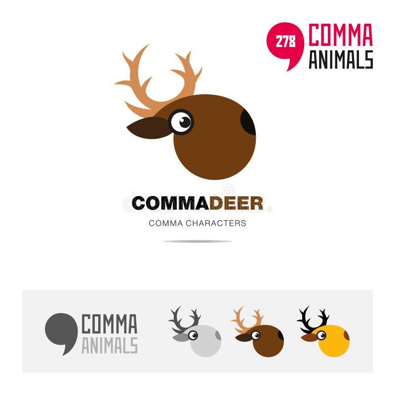 鹿动物概念象集合和现代品牌身份商标模板和根据逗号的app标志签字 皇族释放例证