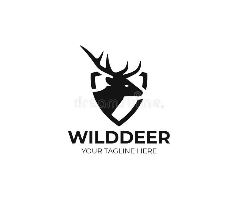 鹿和盾商标模板 雄鹿传染媒介设计 向量例证