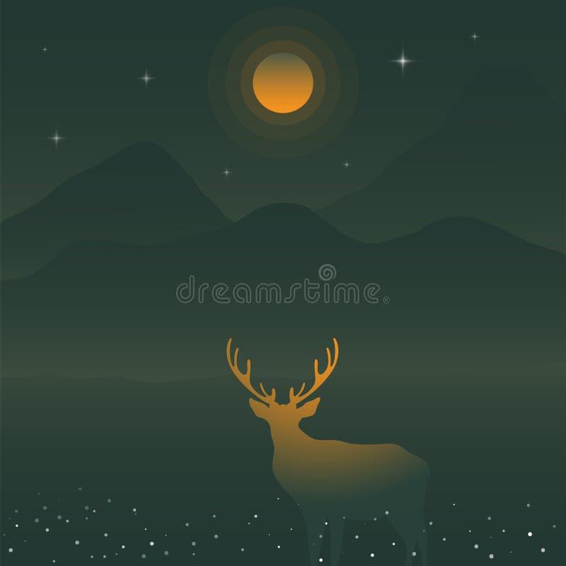 鹿和绿色山在黄色满月,鹿剪影下 库存例证