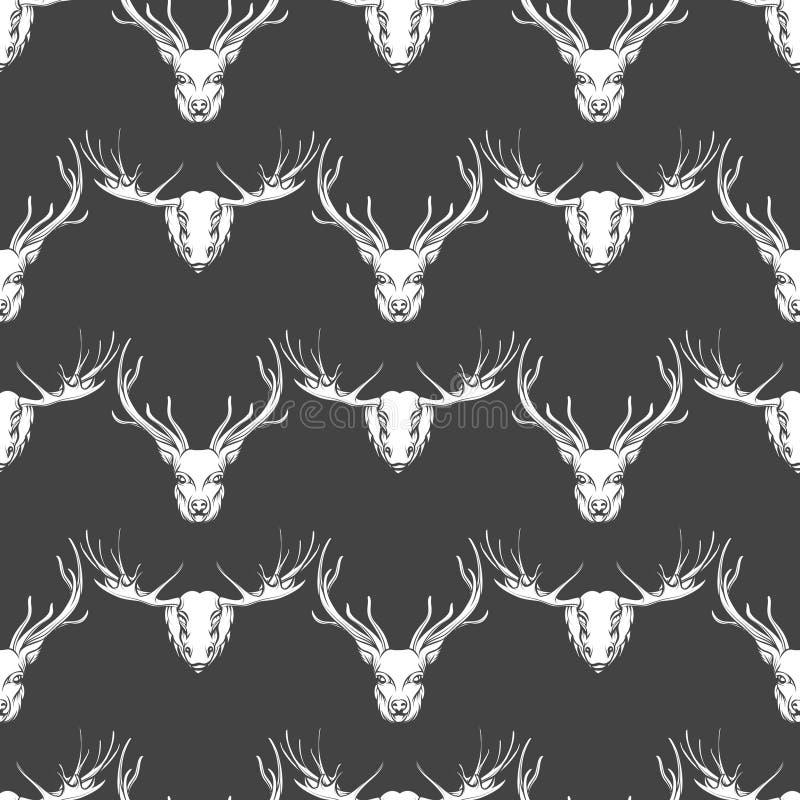 鹿和麋头无缝的样式 向量例证