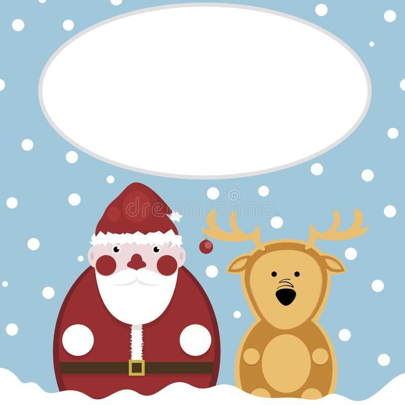 鹿圣诞老人 雪 新年度 皇族释放例证