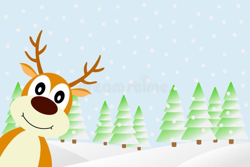 鹿在冬天森林里。 向量例证