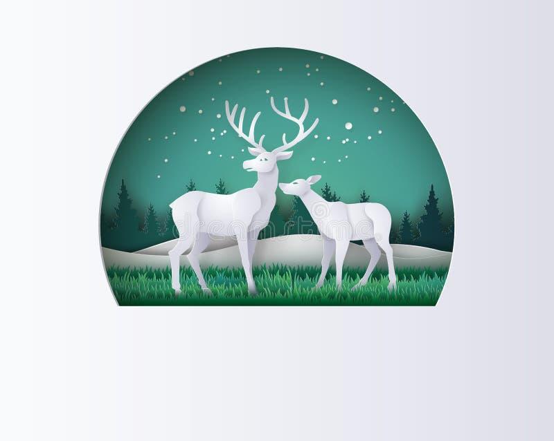 鹿在有雪的森林在冬天晒干 传染媒介纸艺术s 皇族释放例证