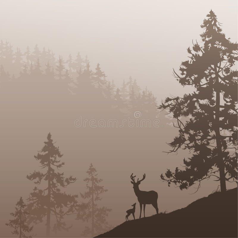 鹿在森林里 皇族释放例证