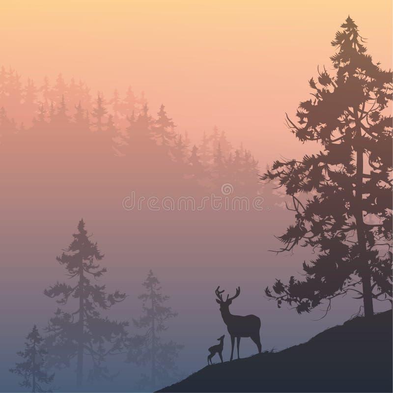 鹿在森林里 向量例证