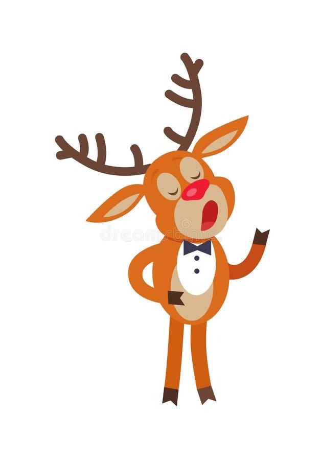 鹿在白色隔绝的唱歌歌曲 驯鹿 向量例证