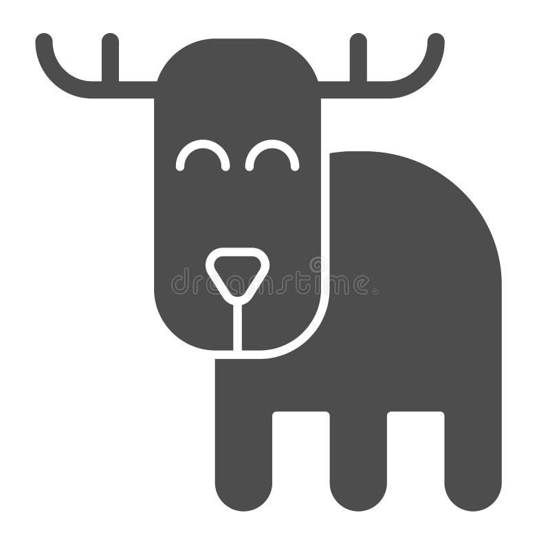 鹿坚实象 驯鹿在白色隔绝的传染媒介例证 动物纵的沟纹样式设计,设计为网和app 皇族释放例证