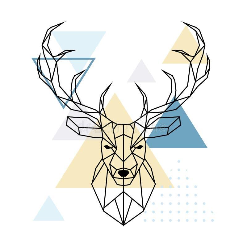 鹿多角形头 斯堪的纳维亚样式 向量例证