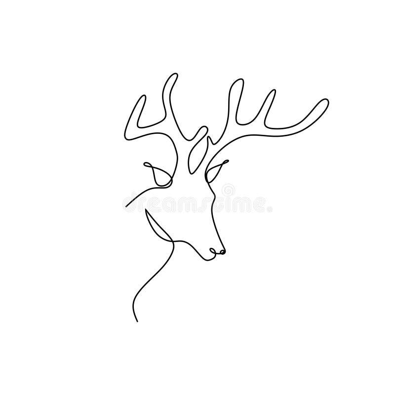 鹿头的实线图画 皇族释放例证