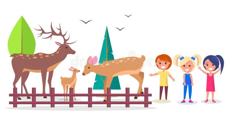 鹿家庭在森林隔绝了动画片例证 库存例证