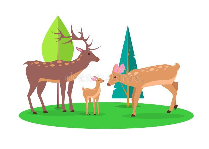 鹿家庭在森林隔绝了动画片例证 皇族释放例证