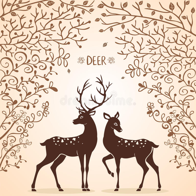 鹿树 向量例证