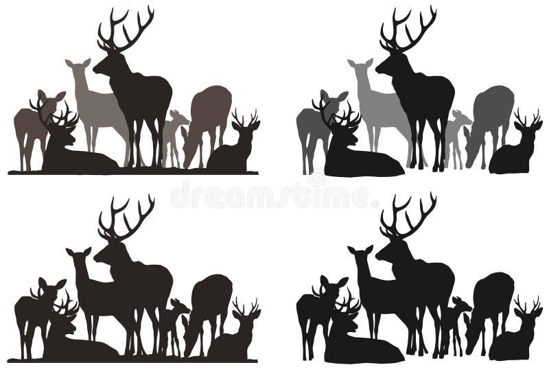 鹿牧群 向量例证