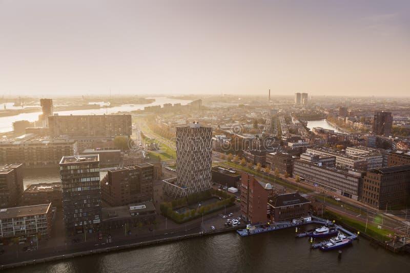 鹿特丹空中全景日落的 免版税库存照片