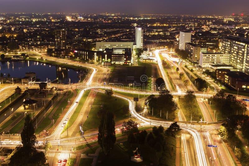 鹿特丹空中全景  免版税库存图片