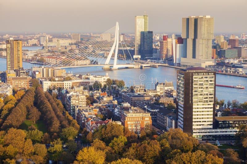 鹿特丹空中全景  免版税图库摄影