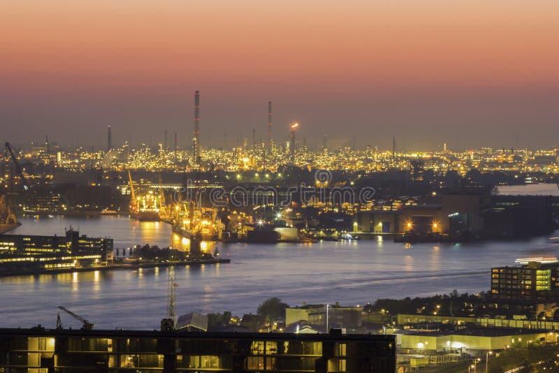 鹿特丹空中全景  库存图片