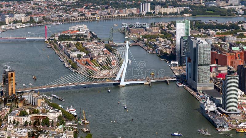 鹿特丹鸟瞰图Erasmus桥梁 图库摄影