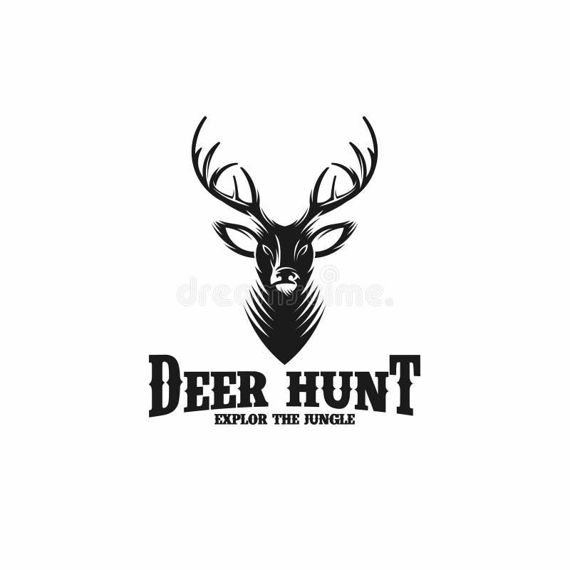 鹿狩猎 在葡萄酒样式的狩猎俱乐部商标 也corel凹道例证向量 向量例证