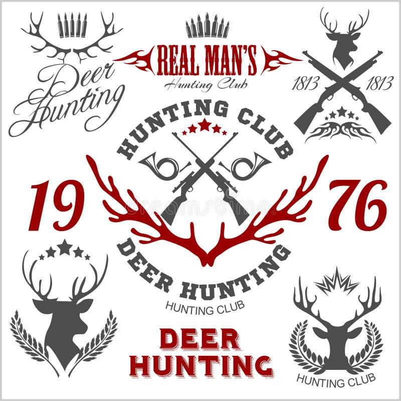 鹿狩猎 套徽章标签商标设计 向量例证