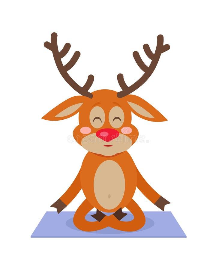 鹿瑜伽坐地毯 思考的字符图片