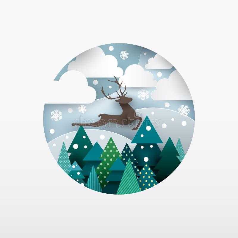 鹿的例证 33c 1月横向俄国温度ural冬天 皇族释放例证
