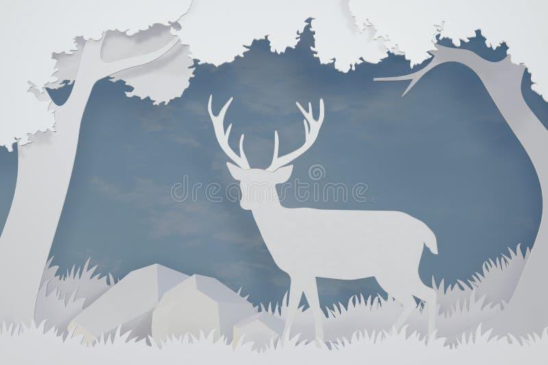 鹿纸艺术和工艺样式在有拷贝空间的,3D翻译设计森林里 库存例证