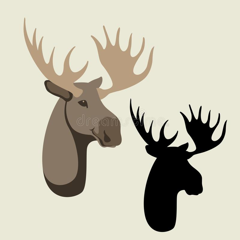 鹿顶头传染媒介例证平的样式黑色剪影 库存例证