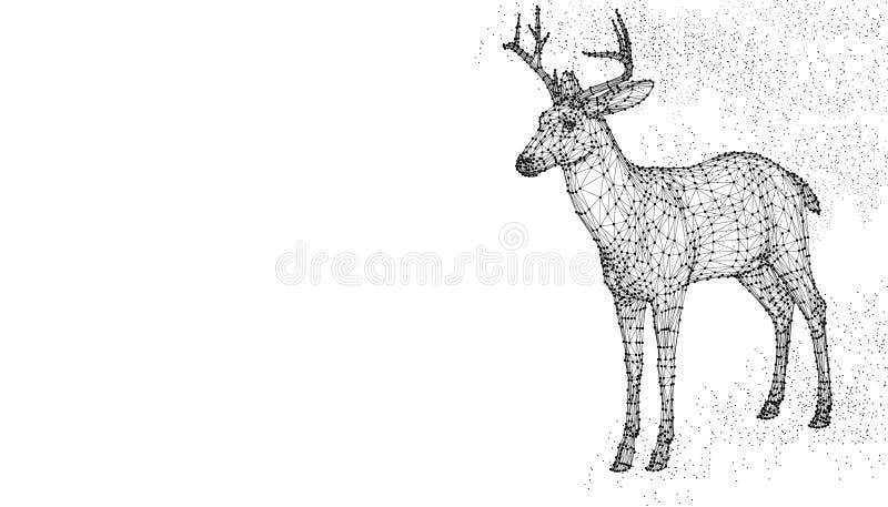 鹿顶头3d传染媒介例证动物 抽象wirframe多角形三角几何背景 低多黑线滤网futuris 库存例证