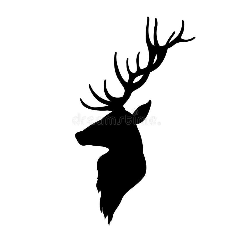 鹿顶头传染媒介例证黑色剪影 向量例证