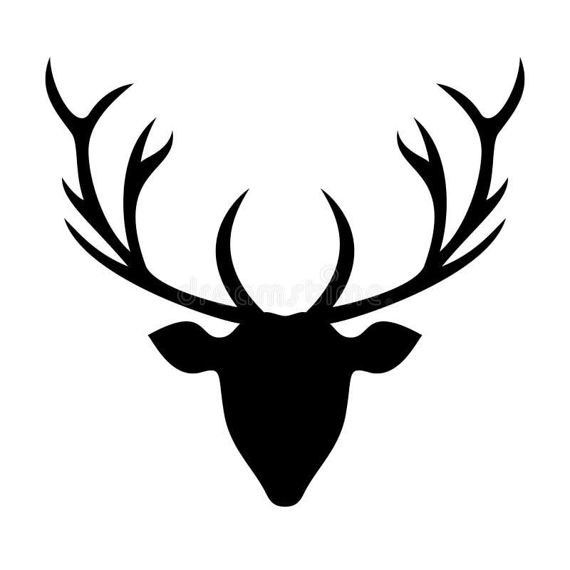 鹿顶头剪影-例证 库存照片