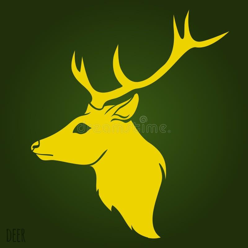 鹿顶头剪影 库存例证