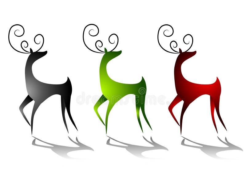 鹿驯鹿影子突出 向量例证