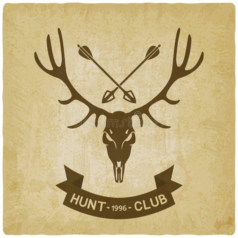 鹿头骨剪影老背景 狩猎俱乐部设计 库存例证