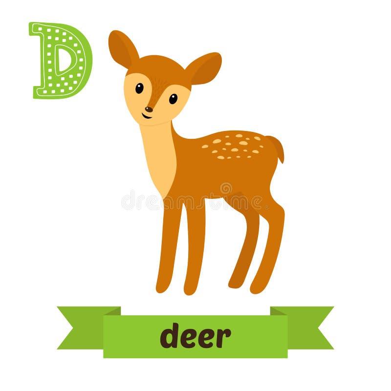 鹿 D信件 逗人喜爱的在传染媒介的儿童动物字母表 滑稽的c 向量例证