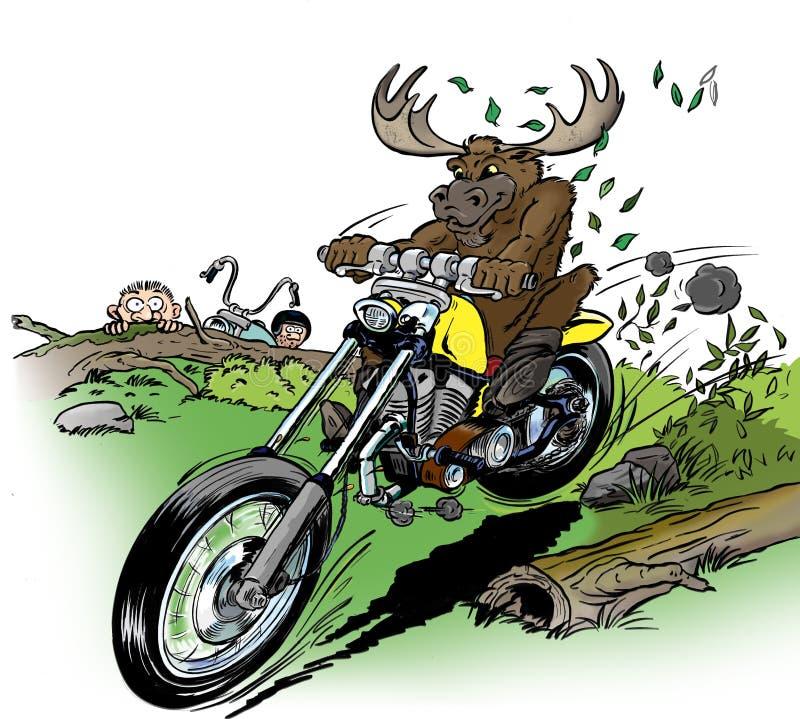 麋骑自行车的人 向量例证