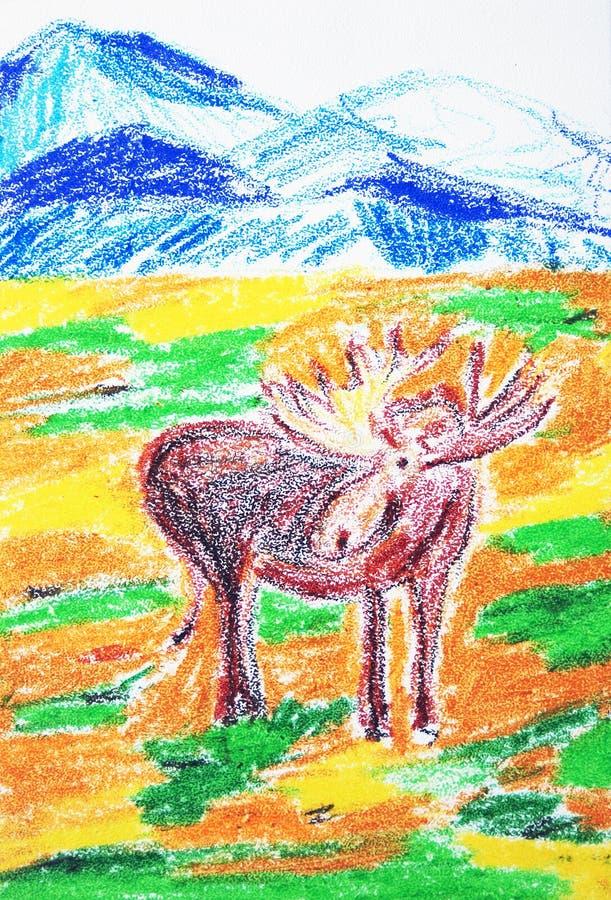 麋 颜色蜡笔画 向量例证