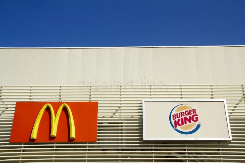 麦克唐纳和汉堡王牌 库存照片