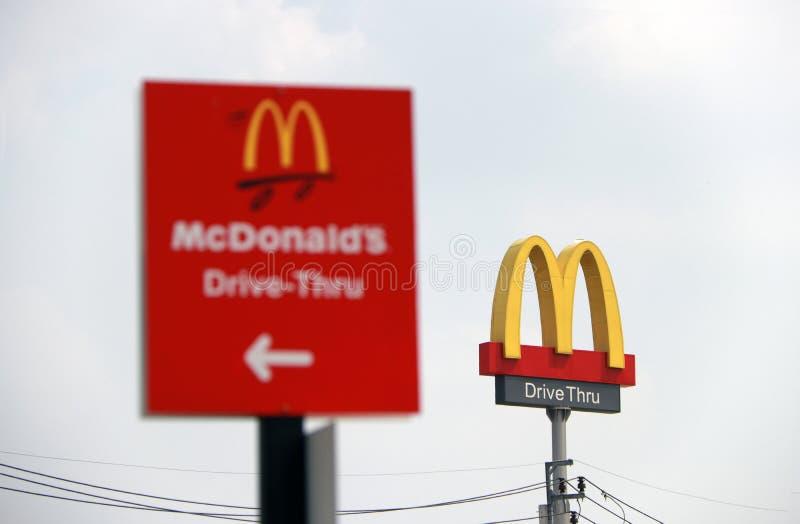 麦克唐纳` s商标驱动标志dicut样式通过在白天和通过聚焦麦克唐纳驱动的红色标志 库存照片