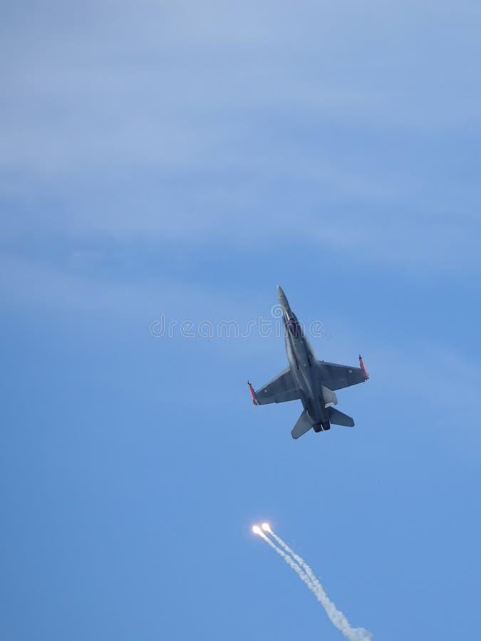 麦克当诺道格拉斯公司F-18大黄蜂,多角色作战喷气式歼击机 免版税库存图片