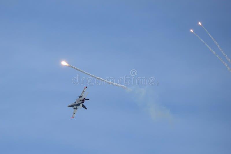 麦克当诺道格拉斯公司F-18大黄蜂,多角色作战喷气式歼击机 库存图片