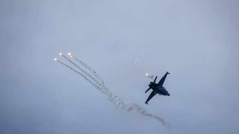 麦克当诺道格拉斯公司F-18大黄蜂,多角色作战喷气式歼击机 免版税库存照片