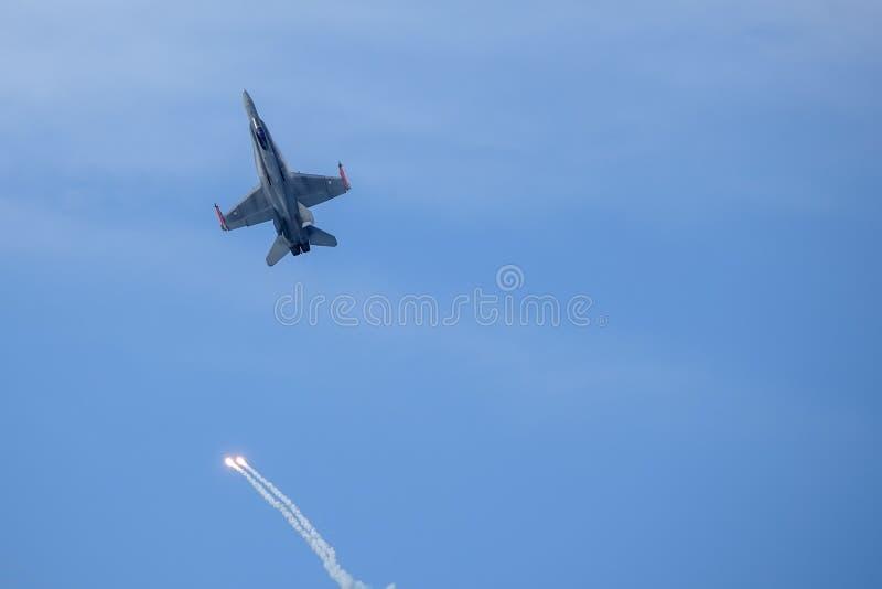 麦克当诺道格拉斯公司F-18大黄蜂,多角色作战喷气式歼击机 库存照片