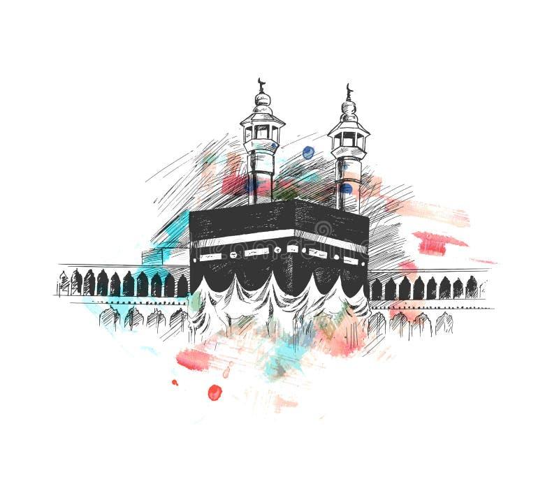麦加的沙特阿拉伯,手拉的剪影传染媒介圣洁圣堂 皇族释放例证