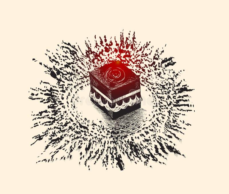 麦加的沙特阿拉伯,手拉的剪影传染媒介圣洁圣堂 库存例证