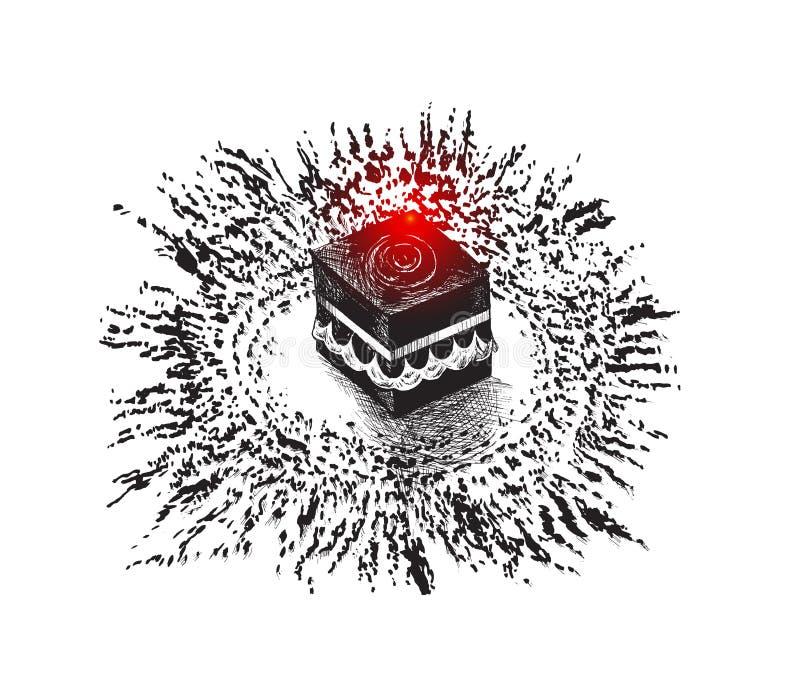 麦加的沙特阿拉伯,手拉的剪影传染媒介illus圣洁圣堂 向量例证