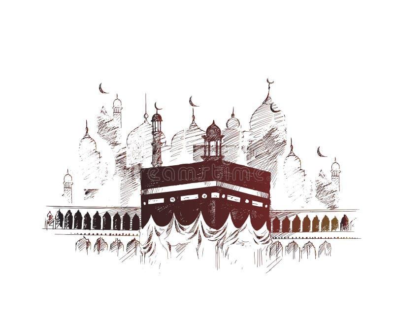 麦加的沙特阿拉伯,手拉的剪影传染媒介illus圣洁圣堂 库存例证