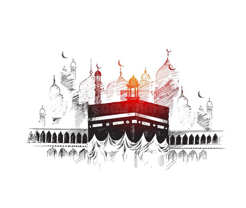 麦加的沙特阿拉伯,手拉的剪影圣洁圣堂 库存例证